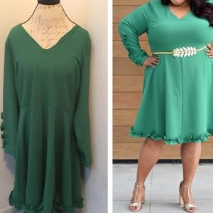 Eloquii Green Ruffle Dress